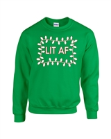Lit AF Christmas Lights Unisex Crew Sweatshirt (1722)