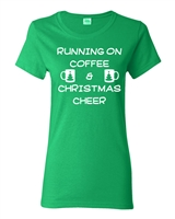 Running on Coffee and Christmas Cheer Junior Fit Ladies T-Shirt (1727)
