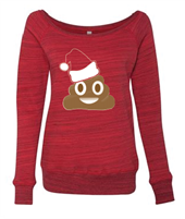 Poop Emoji Christmas Ladies Sponge Fleece Wide Neck Sweatshirt (7501)- (1524)