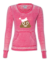 Poop Emoji Christmas Ladies Thermal Long Sleeve T-Shirt (8255)- (1524)