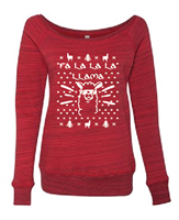 Fa La La La Llama Ladies Sponge Fleece Wide Neck Sweatshirt (7501) - (1718)