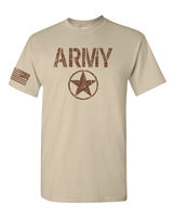 US Army Star Distressed With Flag on the Sleeve Men's T-Shirt (1757)