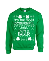 St. Patrick's Day It's The Most Wonderful Time for a Beer Unisex Crew Sweatshirt (1795)