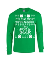 St. Patrick's Day It's The Most Wonderful Time for a Beer Men's LONG SLEEVE T-Shirt (1795)