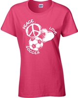 Peace Love Soccer Junior Fit Ladies T-Shirt (1837)