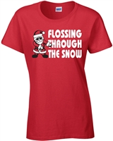 Flossing Through the Snow LADIES Junior Fit T-Shirt (036)