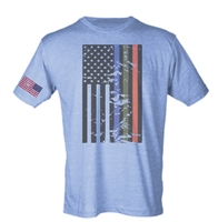 American Flag With Flag on Sleeve Sublimation Print Men's T-Shirt