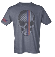 Skull Flag With Flag on Sleeve Sublimation Print Men's T-Shirt