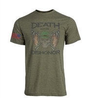 Death Before Dishonor With Flag on Sleeve Sublimation Print Men's T-Shirt