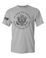 In God We Trust USA Flag On Sleeve Men's T-Shirt  FRONT Print (884)