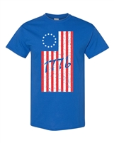 1776 Betsy Ross 13 Star Original US Flag Men's T-Shirt (999)