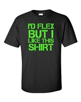 I'd Flex But I Like This Shirt Men's T-Shirt NEON GREEN PRINT (348)