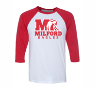 Milford Eagles Raglan ¾ Red Sleeve T-Shirt (3352)