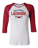 Milford Lacrosse Bella Canvas Raglan 3/4 Sleeve Ladies T-Shirt (2000)