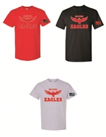 Milford Eagles Unisex T-Shirt With Flag On Sleeve (#2-Words)
