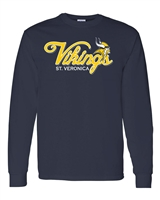St. Veronica Vikings Script Youth/Adult LONG SLEEVE Tshirt (Design #5)