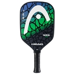 Blue, Green, and Black Radical Pro Composite Pickleball Paddle, polymer core and fiberglass face.