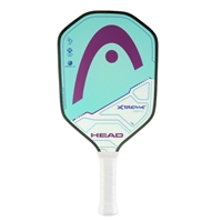 Greenish-blue (Cyan) and Purple Xtreme Pro L Composite Pickleball Paddle, polymer core and fiberglass face.