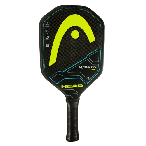 Black and Yellow Xtreme Tour Graphite Paddle, polymer core and graphite face.