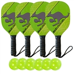 Lime Green, Yellow, and Black Kanga Wood Paddle Deluxe Bundle- includes four wood paddles and six green indoor Jugs balls