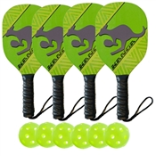 Lime Green, Yellow, and Black Kanga Wood Paddle Deluxe Bundle- includes four wood paddles and four outdoor balls