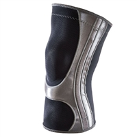 Black and silver Mueller Knee Support Sleeve HG80, available in in sizes small through x-large.