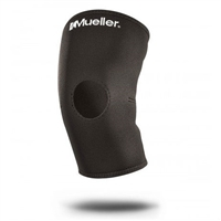 Black Open Patella Knee Support Sleeve by Mueller. Available in sizes small through x-large.