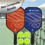 Selkirk Neo Composite Bundle-2 Paddles (Blue and Red) and four balls