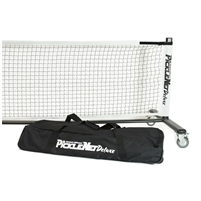 White and Black PickleNet Deluxe features heavier frame and wheels to easily move net. Includes frame, net and storage bag with wheels.