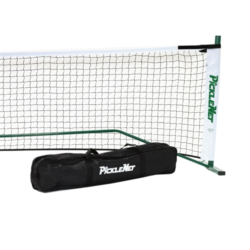 Green and white Portable PickleNet Pickleball Net System with oval tubing.