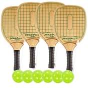 Woodgrain and Green Swinger Wood Paddle Deluxe Bundle- includes four wood paddles and six green Jugs balls.