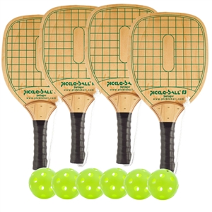 Woodgrain and Green Swinger Wood Paddle Deluxe Bundle- includes four wood paddles and four balls.