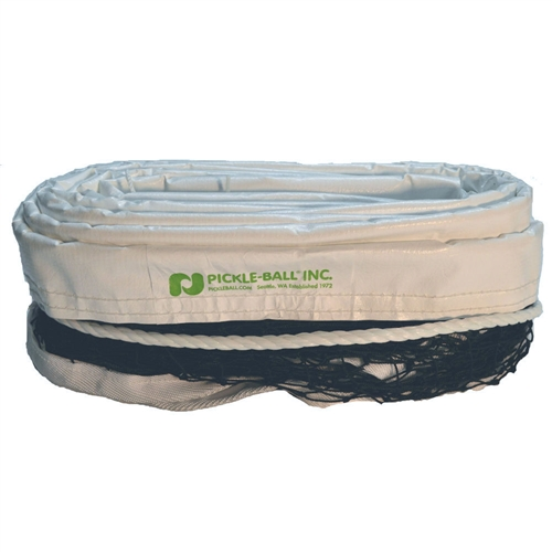 White and Black Pickleball Net for Outdoor use, durable dark brown net easily ties to your permanent posts.