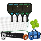 Black, Blue, Red, Green, and Orange Venom2 Pickleball Set - Portable Net, Four Paddles, Four Pickleballs, Bag, Tape and Rule Book.
