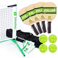 Woodgrain, Green, and White Diller Tournament Set with paddles, balls, net, and storage bag.