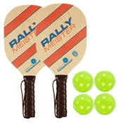 Woodgrain, Blue, and Red Rally Meister Bundle - includes two wood paddles with premium cushion grip and four outdoor balls.