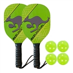 Lime Green, Yellow, and Black Kanga Wood Paddle Bundle - includes two wood paddles and four green indoor balls.