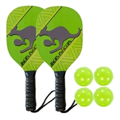 Lime Green, Yellow, and Black Kanga Wood Paddle Bundle - includes two wood paddles and four outdoor balls.
