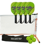 Lime Green, Yellow, and Black Kanga Set-Four wood paddles, portable net, and balls.