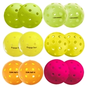 Ultimate Pickleball Balls Outdoor Sampler, available in packs of 6 or 12. Contains both orange and yellow balls.