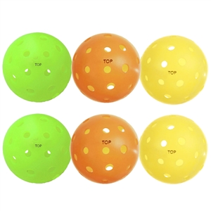 Pickleball Balls Pack Of 12 - Outdoor TOP Sampler with 3 each of yellow, neon, orange and white balls.