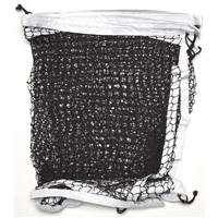 Lightweight Pickleball Net, black mesh netting with white headband, easily ties to existing standards.
