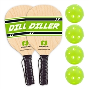 Woodgrain, Green, and White Diller Wood Pickleball Paddle 2 Pack with 4 pickleball balls.