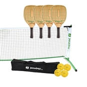 Woodgrain, Green, and White Swinger Tournament Set, includes net, paddles, and balls.