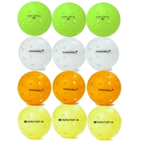 One dozen Dura Outdoor balls in neon, orange, yellow, and white.
