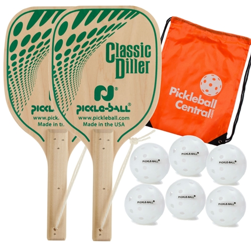 The USA Diller Bundle includes two woodgrain and green paddles and six outdoor Dura balls, and orange drawstring bag.