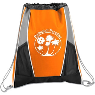 Paddle Cinch Bag Pickleball Paradise available in blue, green, orange, purple, or red.