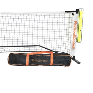 Rally Deluxe Portable Pickleball Net System, including ball holder