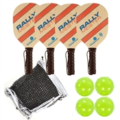 Woodgrain, Blue, and Red Rally Meister Beginners Set - four wood paddles, net, and balls.