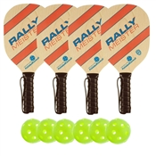 Woodgrain, Blue, and Red Rally Meister Wood Paddle Deluxe Bundle - includes four wood paddles and four outdoor balls.